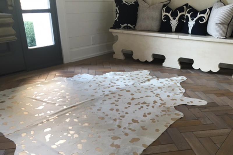 Herringbone Wood Floor with Rug