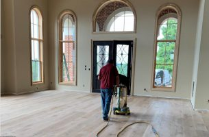 Sanding white oak floors with dustless sander