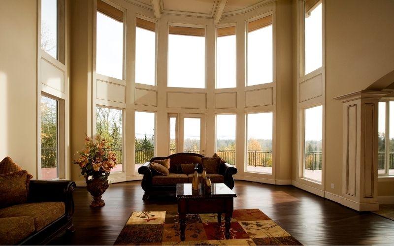 Dark wood floor with furniture of same color