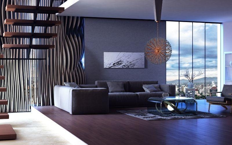 Dark wood floor with glass coffee table