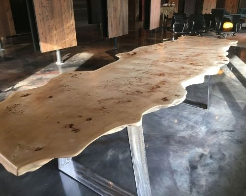 Nappa Burl Table made by Auten Wideplank Flooring