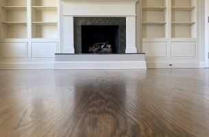 White Oak Floor with Urethane Finish and Fireplace