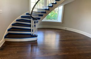 White Oak Floor with Mahogany Stairs