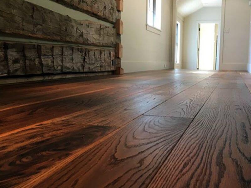 Horizontal wood planks in hallway