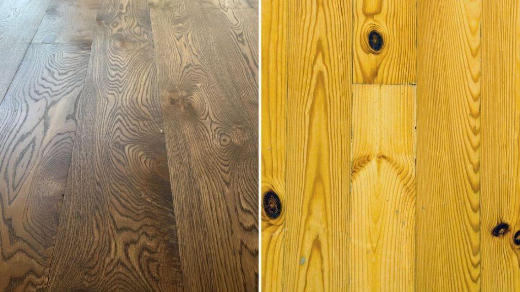 Hardwood White Oak next to Softwood Pine